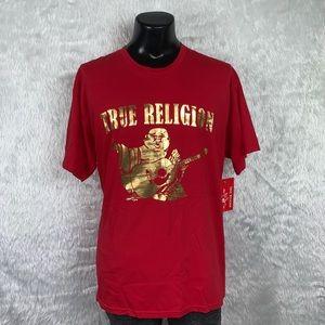 🆕 True Religion Red/Gold Buddha Tee (NWT)